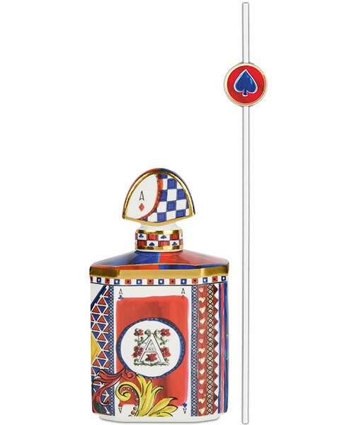 Bottiglia portafragranze in porcellana mini COLLEZIONE REGINA DI CUORI carte da gioco