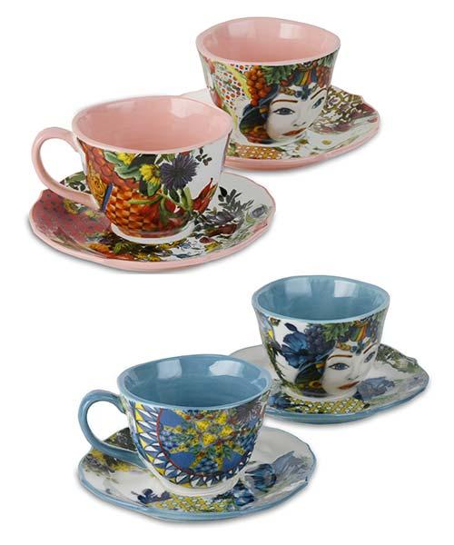 Set 2 Tazzine caffè in porcellana fiori