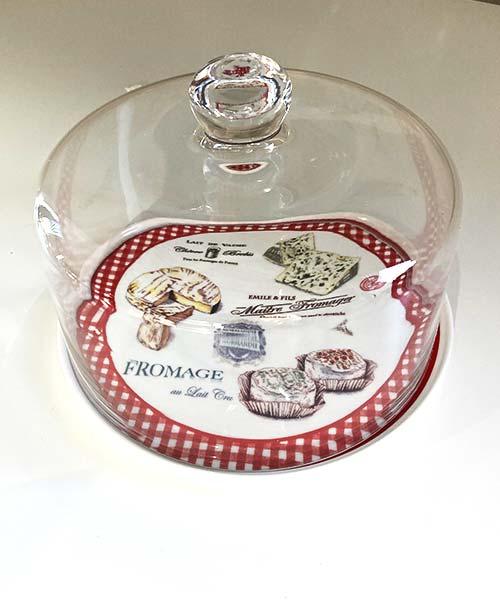 Piatto Formaggio in Porcellana con Cupola di Vetro