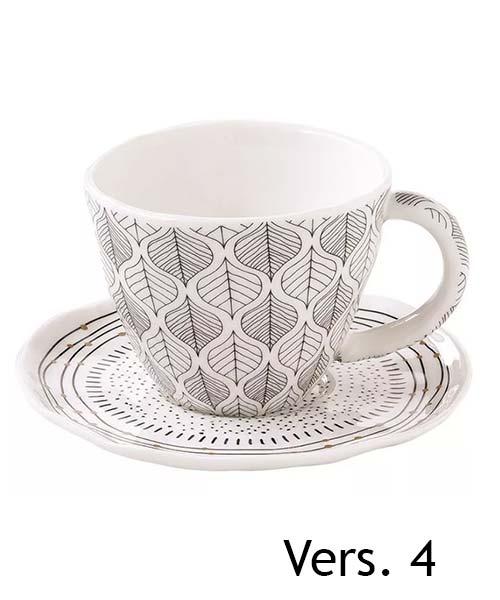 SET 2 TAZZINE CAFFE CON PIATTINO DECORO ORGANIC EASY LIFE