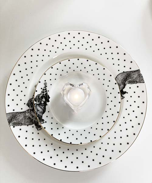 Piatti dessert in Porcellana Dog