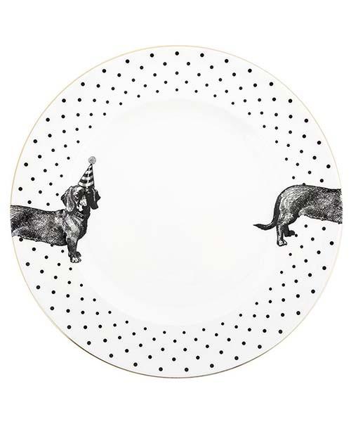 Piatto Piano in Porcellana Dog