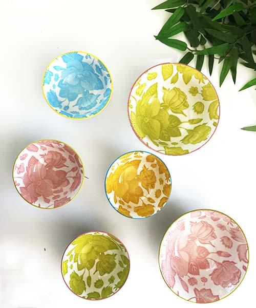 Set 4 Coppette Porcellana - Design + Art colorate easy life estive florale