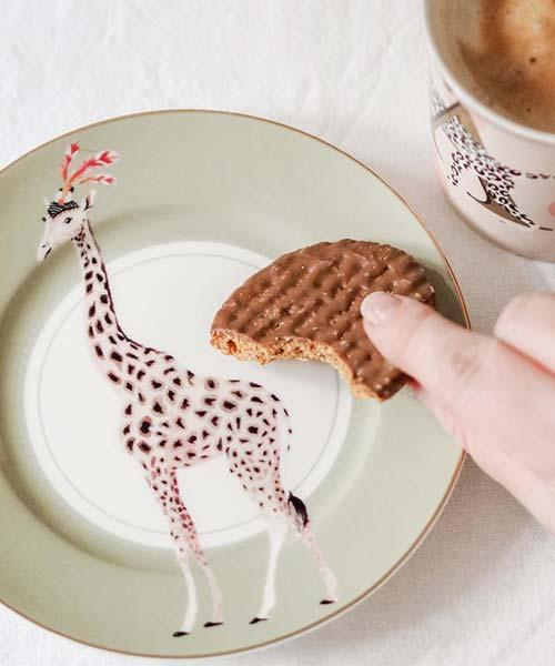 Set 4 piatti dessert in Porcellana Safari Animals Yvonne ellen colorati