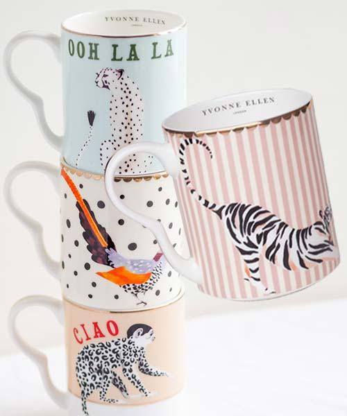 Small Mug in Porcellana decorate con illustrazioni di Animali