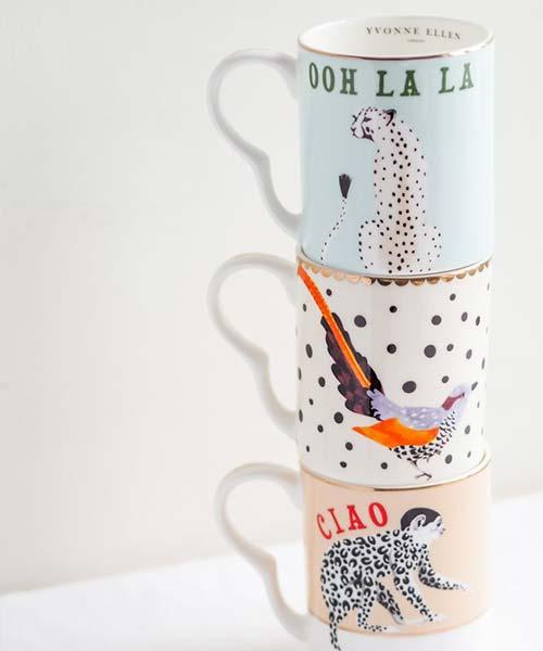 Tazza in Porcellana decorata con illustrazione Ghepardo