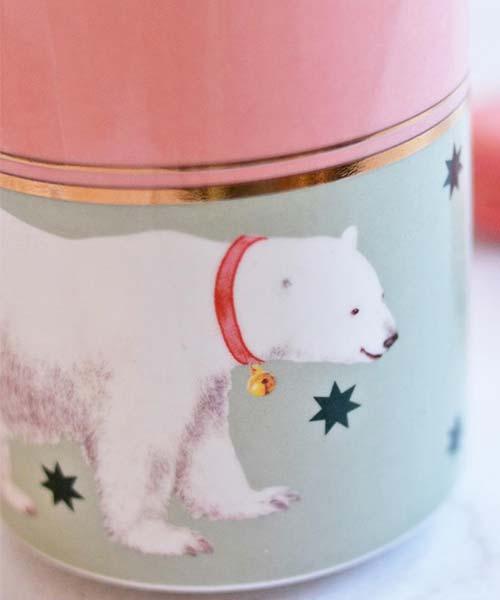 Tazza in Porcellana decorata con illustrazione Orso Polare yvonne ellen