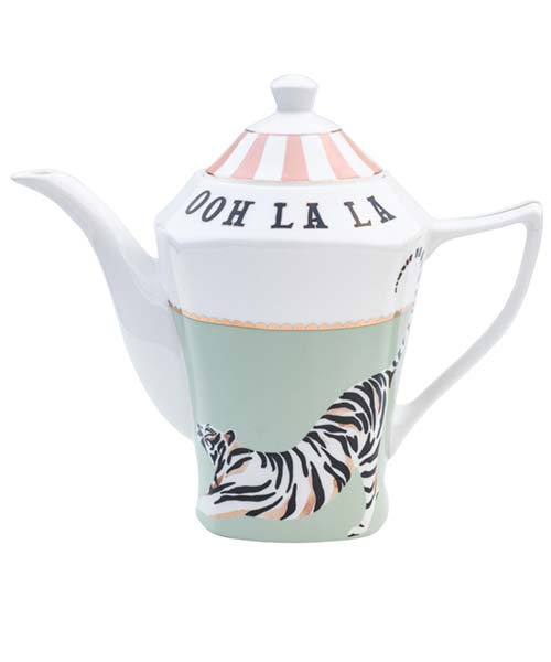 Teiera in Porcellana decorata Tigre Bianca