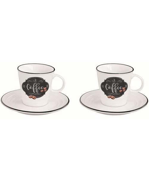 SET 2 TAZZINE CAFFE CON PIATTINO IN PORCELLANA EASY LIFE - KITCHEN