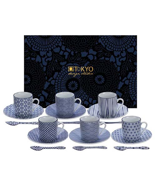 Set 18 pz tazzine caffè Moka Nippon Dark Blu