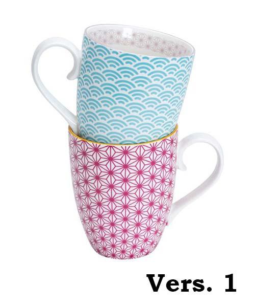 Set 2 Mug Nippon decoro geometrico colorato