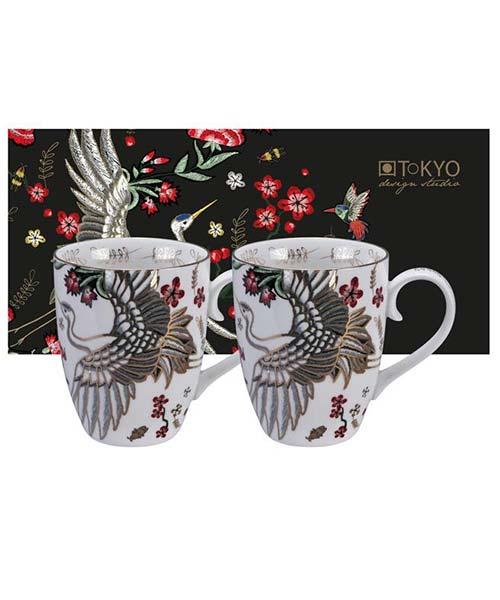 Set 2 Mug Uccello mitologico Giapponese Gru