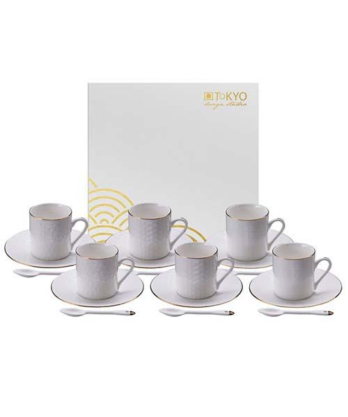 Set 6 tazzine caffè Moka White FILO ORO con decoro in rilievo