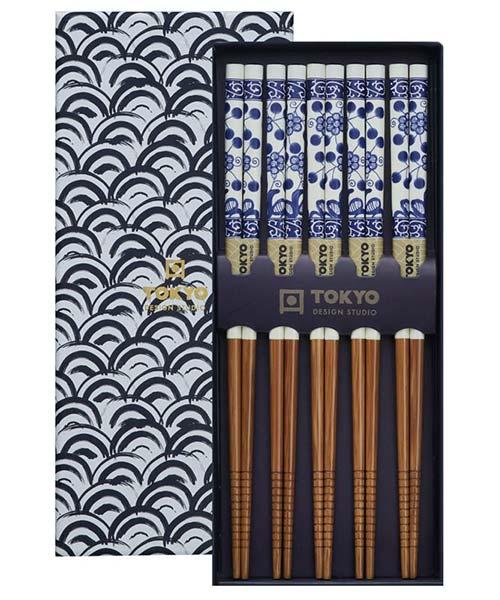 Set Bacchette Sushi Fiore Blu