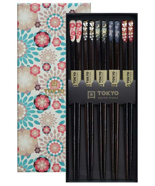 Set Bacchette Sushi Nere Ippon Floral