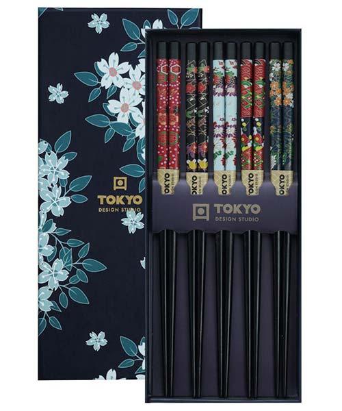 Set Bacchette Sushi Nere decoro floreale